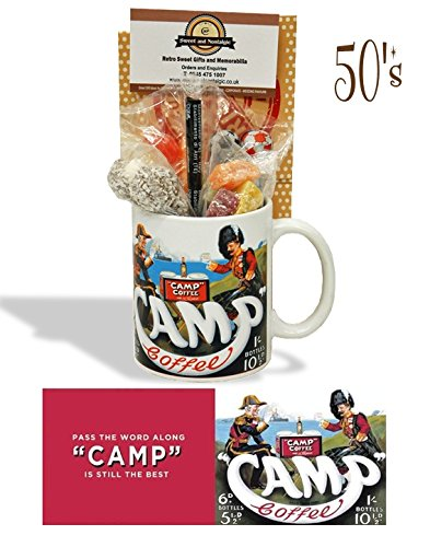 Camp Coffee Mug with a selection 1950's old fashioned Sweets