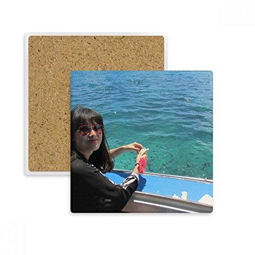 Boot Wave Sea Ellie Yao Beautiflu Mädchen quadratisch Untersetzer Cup Becher Halter saugfähig Stein für Getränke 2Geschenk