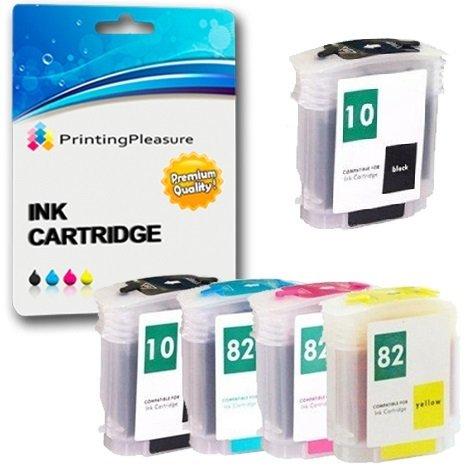 Printing Pleasure 5 Tintenpatronen kompatibel zu HP 10/82 XL für HP DesignJet 500 500e 500m 500ds 500+ 500ps 500ps+ 800 800ps 815mfp 820mfp cc800ps - Schwarz/Cyan/Magenta/Gelb, hohe Kapazität