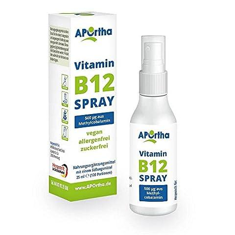 APOrtha® Vitamin B12 Spray - 500 µg Methylcobalamin als veganes Mundspray - 25 ml (120 Portionen)