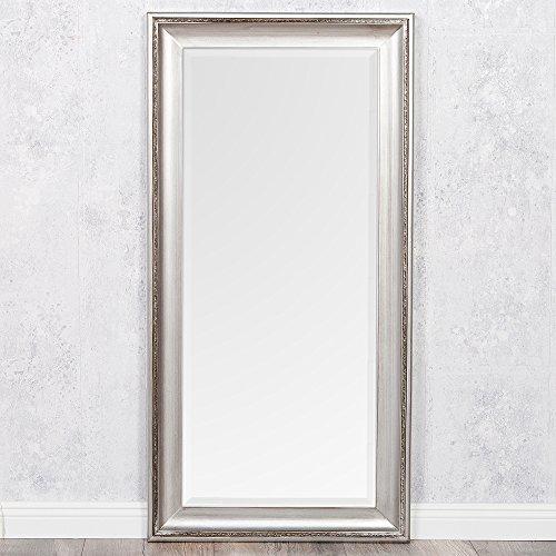 LEBENSwohnART Spiegel COPIA 120x60cm Silber-Antik Wandspiegel Barock Holzrahmen und Facette