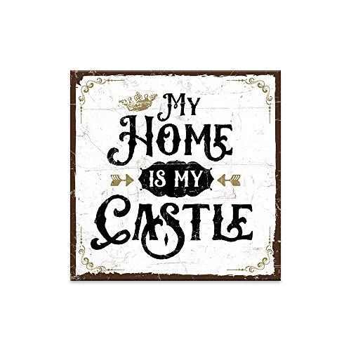 Holzschild mit Spruch – MY HOME IS MY CASTLE – shabby chic retro vintage nostalgie deko Typografie-Grafik-Bild bunt im used-look aus MDF-Holz, Schild, Wandschild, Türschild, Holztafel, Holzbild
