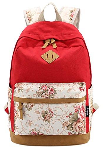 Panegy Damen Mädchen Mode Design Rucksack Bulemendruck-Art Canvas Reisen Rucksack Schulrucksack für Schüler Freizeit Outdoor Sport Backpack - Rot2