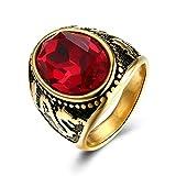 Gnzoe Schmuck Vergoldet Ring Herren Oval Cubic Zirkonia Rot Gr.60 (19.1)