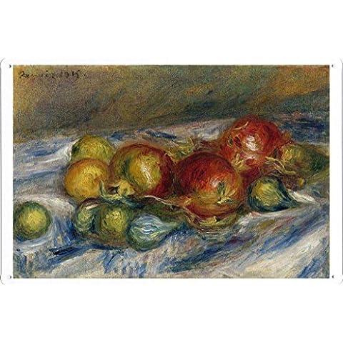 metallo manifesto piatto decorazione della parete Targa in metallo di Pierre Auguste Renoir - Still Life with Figs and Granates, 1915 20*30cm by Masterpiece