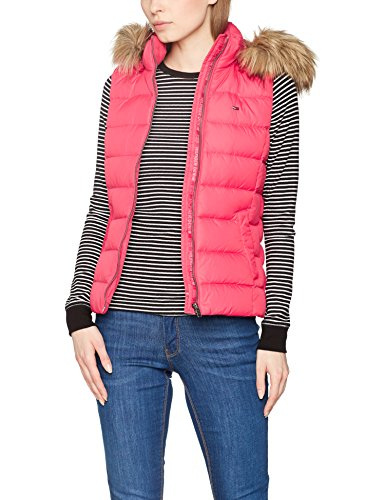 Hilfiger Denim Damen Outdoor Weste Thdw Basic Down Vest 1, Rosa (Rose Red), 8 (Herstellergröße: Small)