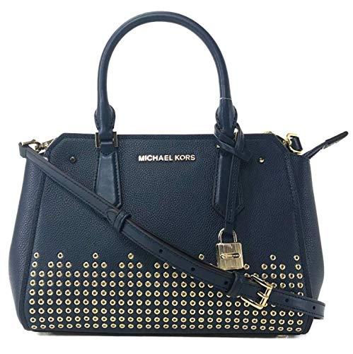 MICHAEL Michael Kors Hayes Medium Blue Leather Messenger Bag - NAVY
