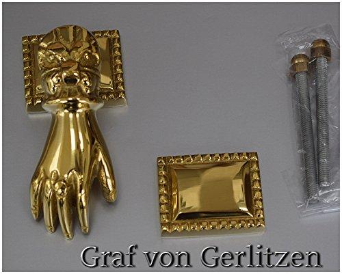 Graf von Gerlitzen Antik Messing Tür Klopfer Türbeschlag Türklopfer Hand 105424P