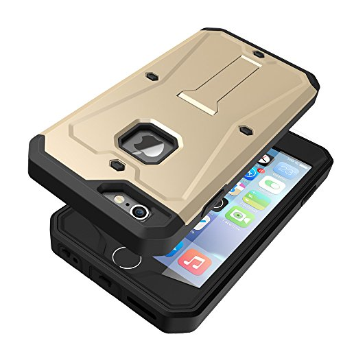 iPhone 6 / 6S Coque,EVERGREENBUYING Etanche Etui de Protection [Seulement goutte étanche] iP6 IP6S Housse étui [Kickstand Series] incassable back cover rigide anti Case pour Apple iPhone 6 / 6S (4.7 I Or