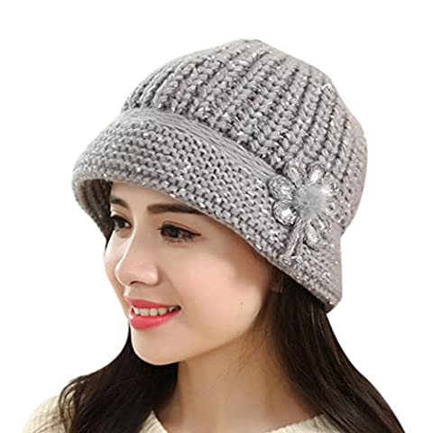 Kingko® Fashion Women Lady Winter Warm Crochet Knitted Hat Flower Decoration Winter Hat Warm Cap to Protect Head and Ears
