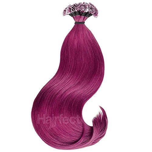 Hairfect Crazy-Color Bonding Extensions Haarverlängerung aus indischem Echthaar - glatt, Naturtöne 40-60 cm, 10 Strähnen Größe 40 cm, Farbe CRAZY 62 red-violet
