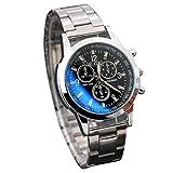 Moonuy Montre à trois Yeux Calendrier Polyvalent Watches Montre Analogique de Poignet d'heure de Quartz d'acier Inoxydable de Sport Casual Horloge Classique Simple Wristwatches (Noir )