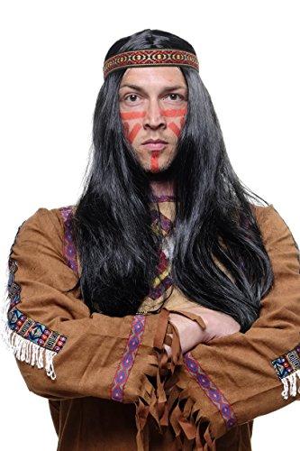 WIG ME UP ® - LM3049-P103 Perücke Indianer/Indianerin, Squaw, schwarz (Hippie-stirnbänder Männer Für)