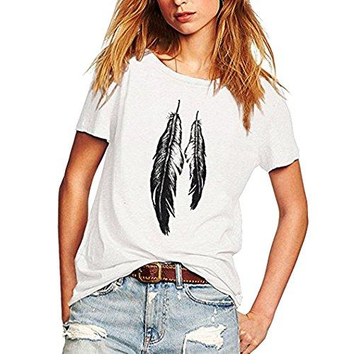 iYmitz Damen Mode Lose Oansatz Spitze Rundausschnitt Art- und Weise Frauen Kurzarm Herz T-Shirts Drucken Tops Bluse Shirts(E-Weiß,EU-42/CN-XL) -