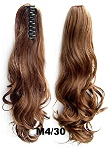 68inch 55g Double Usage Synthetic Hair Wavy Clip Ponytails Pony Tail Hair Extensions#4/30- brown medium auburn