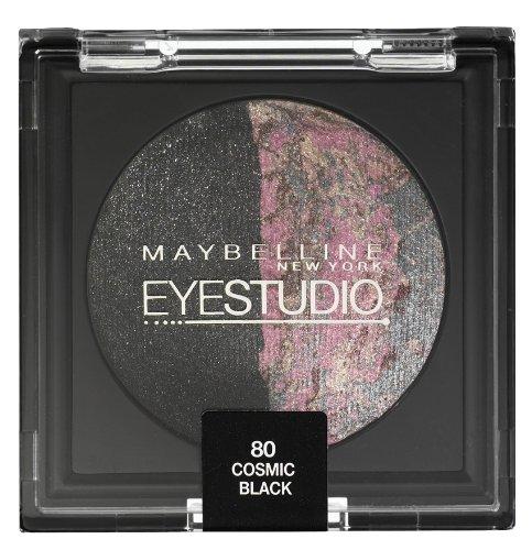 Maybelline New York Duo Lidschatten Eyestudio Color Cosmos in Cosmic Black 80 / Eyeshadow schwarz, mit Perlen-Effekt und Baked-Technologie, 1 x 2,5 g - Trend Lidschatten-duo