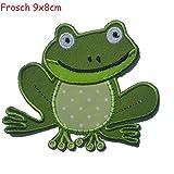 2 Aufbügler Frosch 9X8cm Stegosaurus 11X7cm Set Aufnäher Flicken Applikationen zum Ausbessern von Kinder Kleidung mit Design TrickyBoo Zürich Schweiz für Deutschland und Österreich