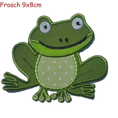 2-ecussons-patch-appliques-grenouille-9x8cm-vache-8cm-high-thermocollant-brode-broderie-pour-vetemen