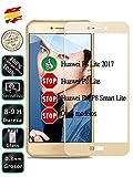 Protector de Pantalla Cristal Templado Completo para Huawei P8 Lite 2017 Dorado - Movilrey