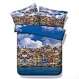 Sticker superb Blauer Himmel Eiffel Turm Bettbezug Set mit Kissenbezug, Exotisch Europäisches Gebäude Bettwäsche Set zum Mann Frau Nicht-Eisen (Building, 220_x_240_cm)