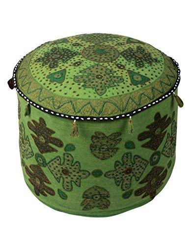 Handmade indiano poggiapiedi Rotondo floreale Patchwork Pouf copertura etnica cotone ottomano coperchio Rajrang