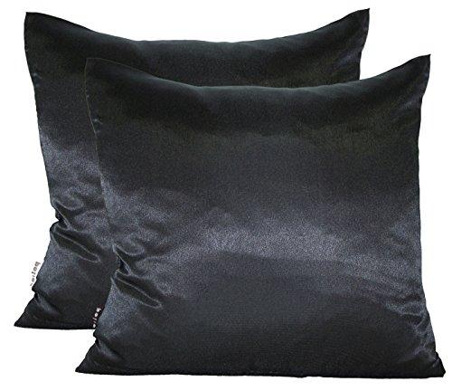 beties Paket mit 2 x Glanz Satin Kissenbezug 80x80 cm anschmiegsam & edel 100{e133f96fa208ab76cd1ce9e46bb594959a323ef89615361a3cca03817981ff87} Polyester in 4 Größen (Schwarz)