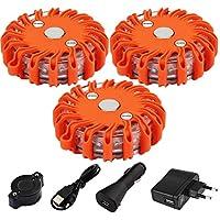 NOTENS Wiederaufladbar Warnleuchte LED, 3 Pack Notfallleuchte Flash Warnleuchte LED Pannenleuchte