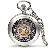JewelryWe Herren Damen Taschenuhr Vintage Klassiker Handaufzug mechanische Kettenuhr Skelett Uhr mit Halskette Kette Umhängeuhr Vatertag Silber