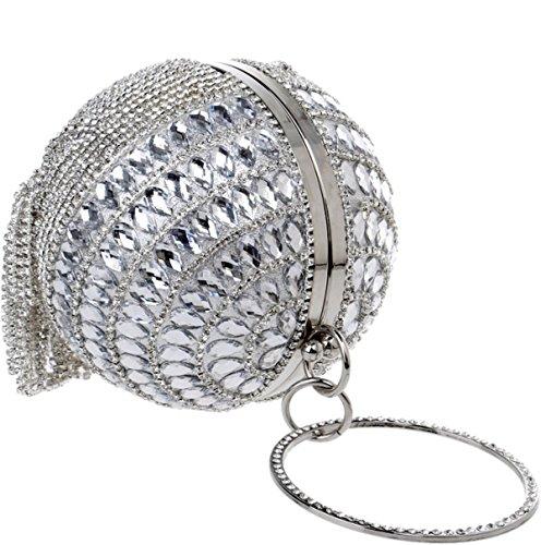 Strawberryer L'Europe Et Les États-Unis Mode Sacs à Main En Dames Sphérique Tassel Sac De Soirée Diamond KTV Mobile Phone Wallet Clutch silver