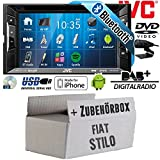 FIAT Stilo - Autoradio Radio JVC KW-V235DBTE - DVD | Bluetooth | DAB+ | CD | MP3 | USB | Android | iPhone | 2-Din - Einbauzubehör - Einbauset