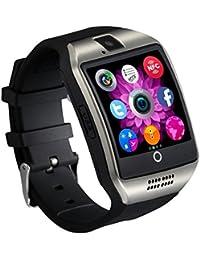 zolimx Bluetooth Smart Watch curvada superficie soporte SIM tarjeta para Smartphone cámara (plata)