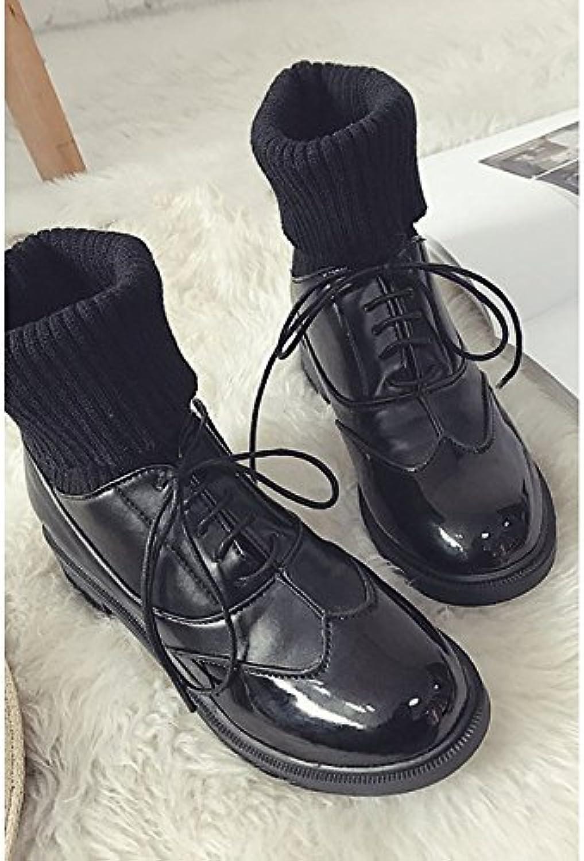 ZHZNVX HSXZ Zapatos de Mujer Invierno PU Confort Cowboy Western/Botas Botas Talón Plano Ronda Toe Botines/Botines...