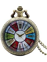 2016 New Bronze Colorful Dial Rome Number Quartz Pocket Watch Necklace Pendant