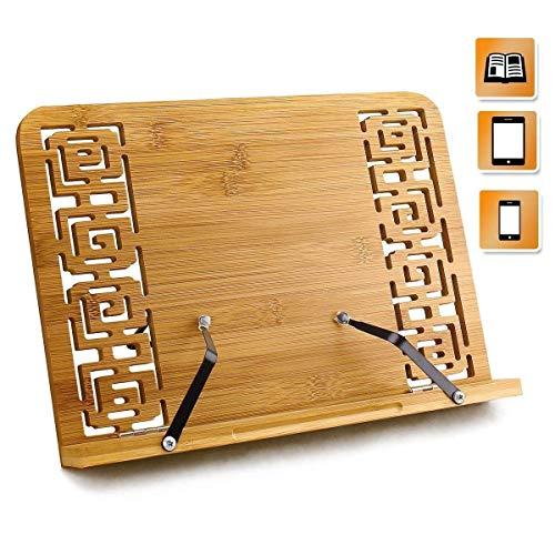 Bambus Kochbuchhalter Leseständer, faltbar Buchstütze Stand mit einstellbarem Rücken & elegantes Muster für Kochbuch, iPad Air 2 3 4, iPad Mini 4, iPad Pro, Kindle,Samsung Tablet PC und mehr