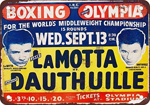 SIGNCHAT 1950 Jake LaMotta en Detroit de Boxeo - Letrero de hojalata (20,3 x 30,5 cm)
