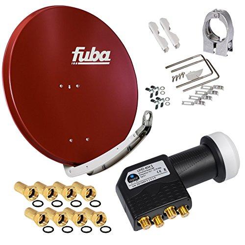 FUBA 4 Teilnehmer Digital SAT Anlage DAA850R ziegelrot + Hochwertiger Quad LNB + 8 Vergoldete F-Stecker