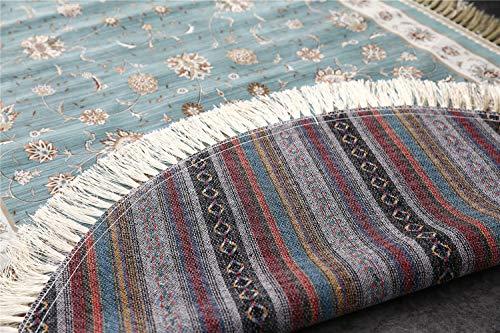 Luofanfei In- & Outdoor Teppich Modern/Vintage Orient Print Terrassen Teppich Rug Wetterfest Türkis, Grösse:90 x 160cm / 2.5 ft x 5.25 ft