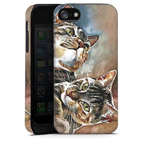 Apple iPhone 5 Housse étui coque protection Chats Chat Jouer Cas Tough terne