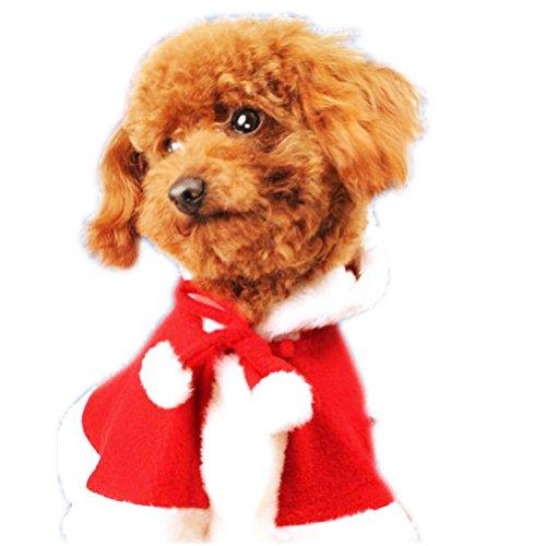 ARAUS Weihnachtskostüm Haustier Katze Hund Anzug mit Kappe Santa Claus Umhang SAMT Mantel Jumpsuit Kleiner Hund (L)