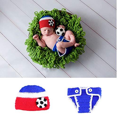 Kostüm Niedliche Mädchen Fußball - ENCOCO Baby Fußball-Requisiten, gestrickt, gehäkelt, handgefertigt, Fotografie-Requisite, Kostüm-Set