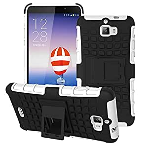 Heartly Flip Kick Stand Spider Hard Dual Rugged Armor Hybrid Bumper Back Case Cover For Micromax Canvas Nitro A310 A311 Dual Sim - Best White