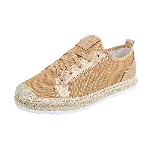 Sneakers Ital-design Basse Sneakers Da Donna Sneakers Basse Lacci Scarpe Casual Cammello B754s-bl