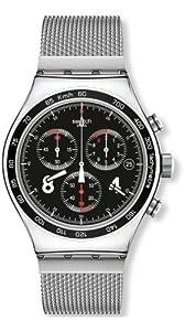 Reloj Swatch Irony Chrono Blackie YVS401G de cuarzo para hombre, correa de acero inoxidable color plateado (cronómetro) de Swatch