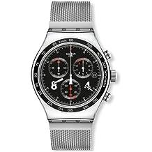 Swatch New Irony Chrono Blackie YVS401G - Reloj cronógrafo de cuarzo para hombre, correa de acero inoxidable color plateado (cronómetro)