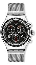 Swatch Herren-Armbanduhr XL New Irony Chrono Blackie Chronograph Quarz Edelstahl YVS401G