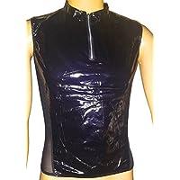 3-W-Hohenlimburg Modell 6576, Herren Show Shirt/Top mit Reißverschluss (Zip) und transparenter Rückseite, Herren Lack Oberteil in schwarz, Größe One Size, sexy Herren Unterwäsche