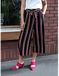 Infispace Women High Waisted Red & Black Striped Palazzo Trouser Pants For Formal/Casual Wear