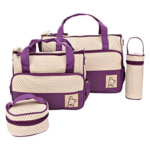 Iris Purple Print Large Multi-Purpose Diaper Bag with Matching Changing Mat - 5 Piece Set (Mommy Bag)