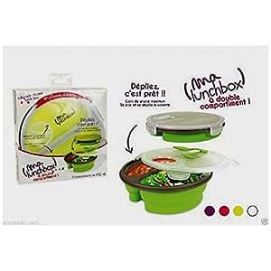 Lunch box silicone rétractable 2x450ml + couverts - KA1094 - Saveur et dégustation