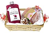 Asia Orchidee Wellness Geschenkset 5 tlg. mit Duschgel und Shampoo, Badepraline Rose, Duschseife, Handtuch 30x50 cm weiß im Geschenkkorb